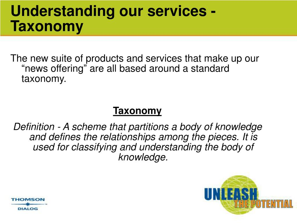 Understanding our services - Taxonomy
