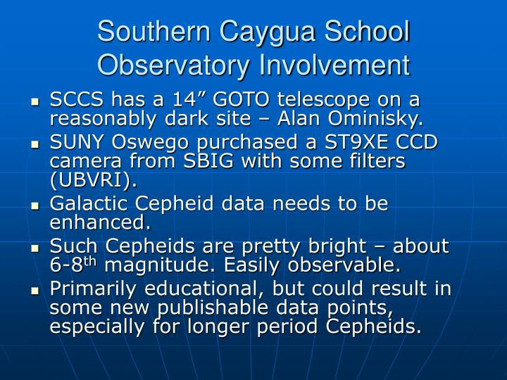 Southern Caygua School  Observatory Involvement