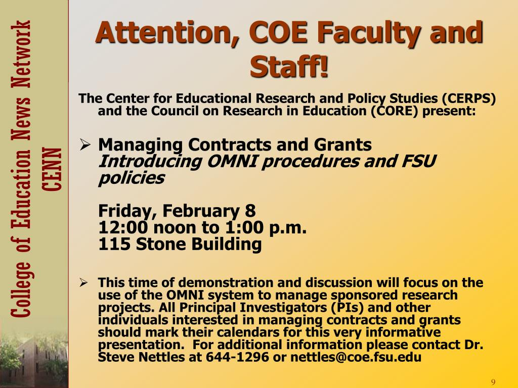 Attention, COE Faculty and Staff!