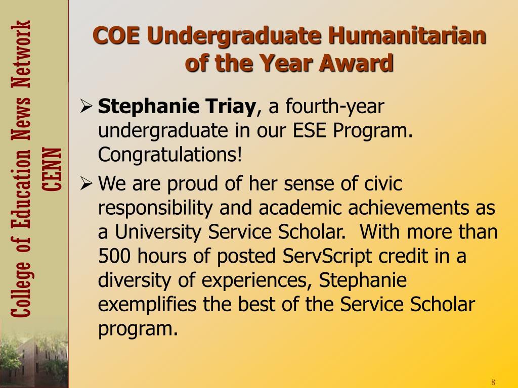 COE Undergraduate Humanitarian of the Year Award