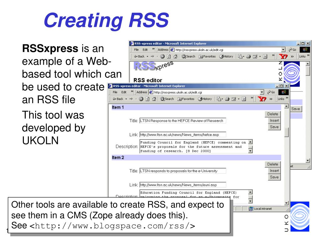 Creating RSS
