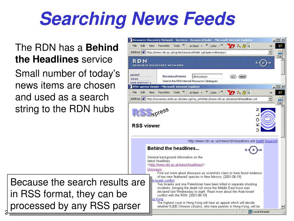 Because the search results are in RSS format, they can be processed by any RSS parser