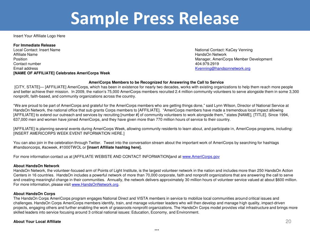 Sample Press Release
