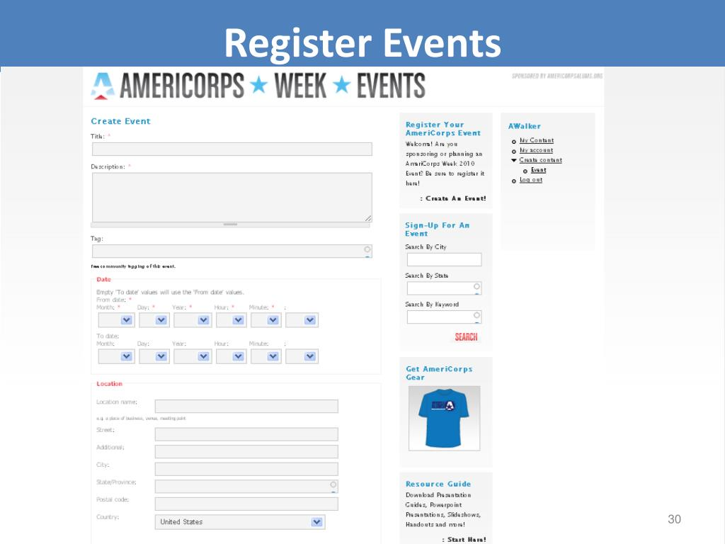 Register Events