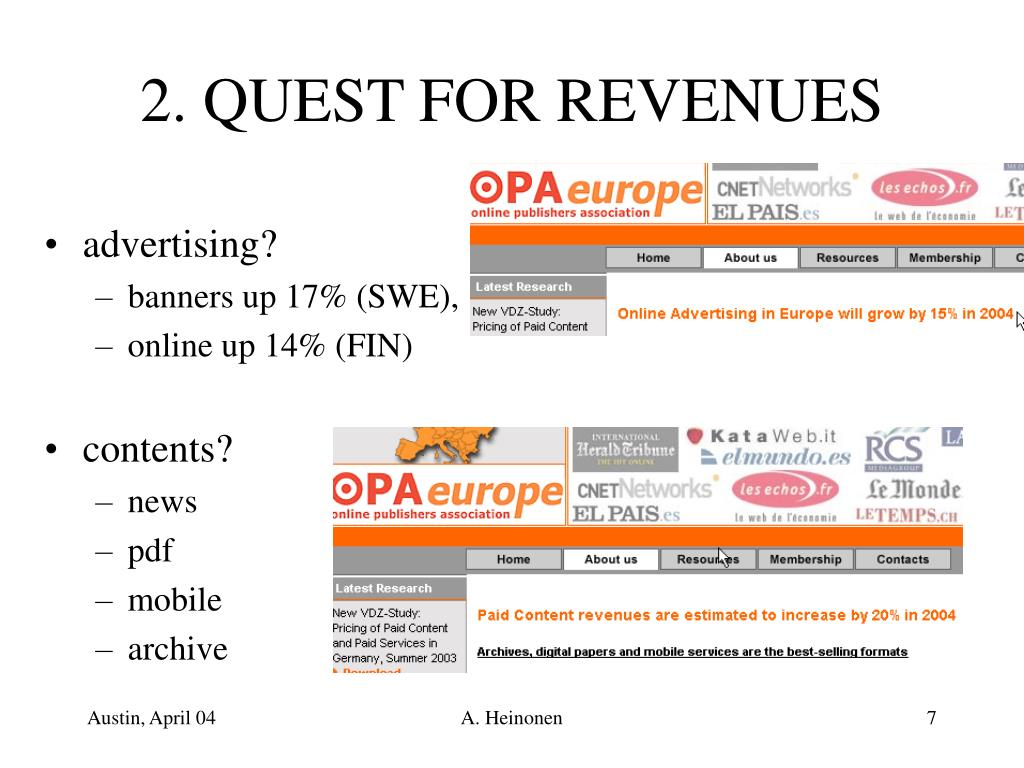2. QUEST FOR REVENUES