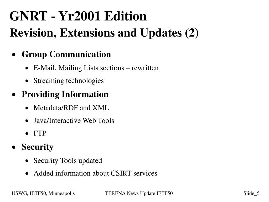 GNRT - Yr2001 Edition