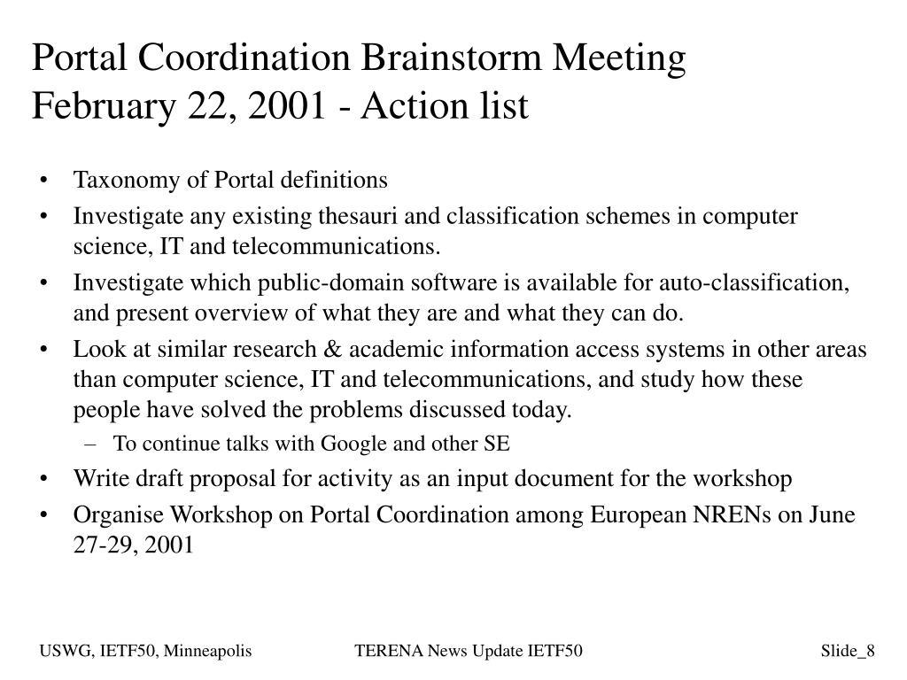 Portal Coordination Brainstorm Meeting