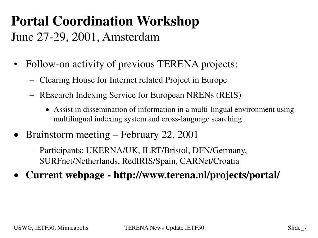 Portal Coordination Workshop