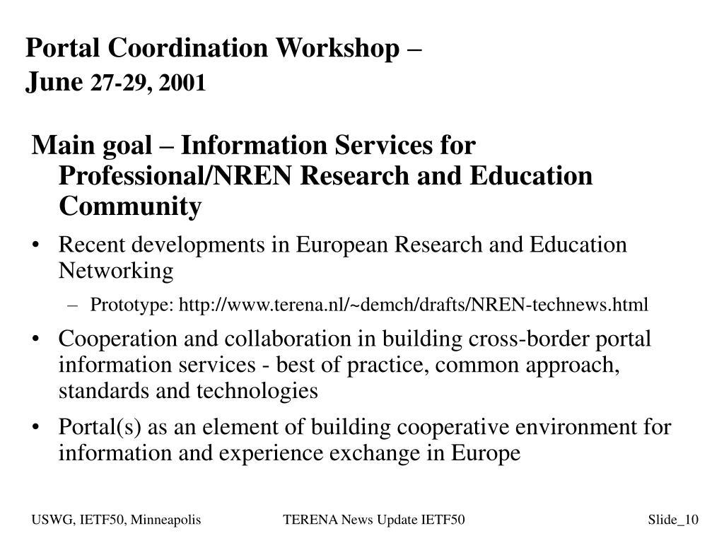 Portal Coordination Workshop –