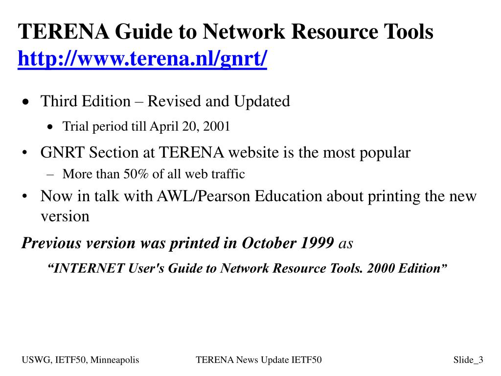 TERENA Guide to Network Resource Tools