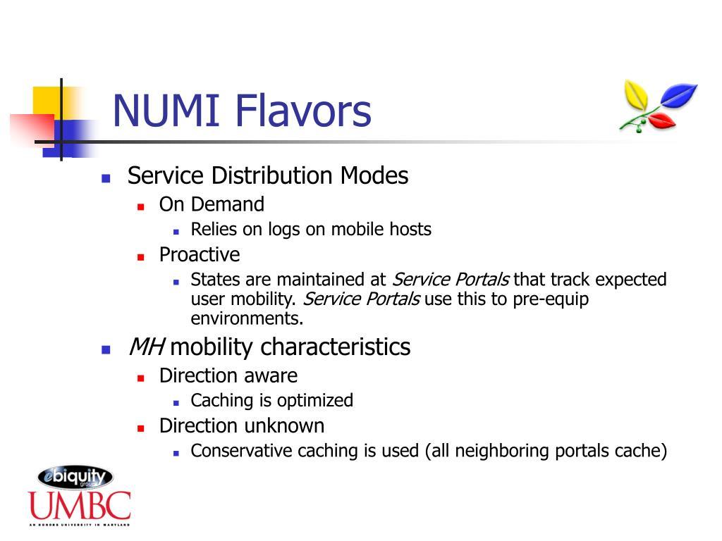 NUMI Flavors