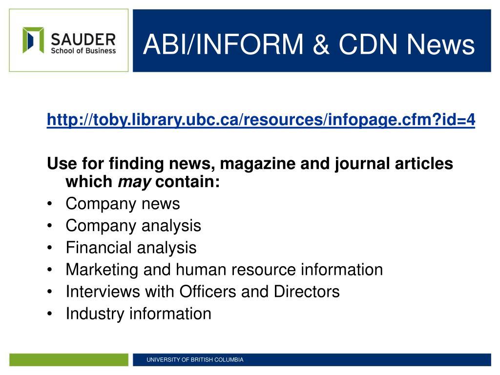ABI/INFORM & CDN News