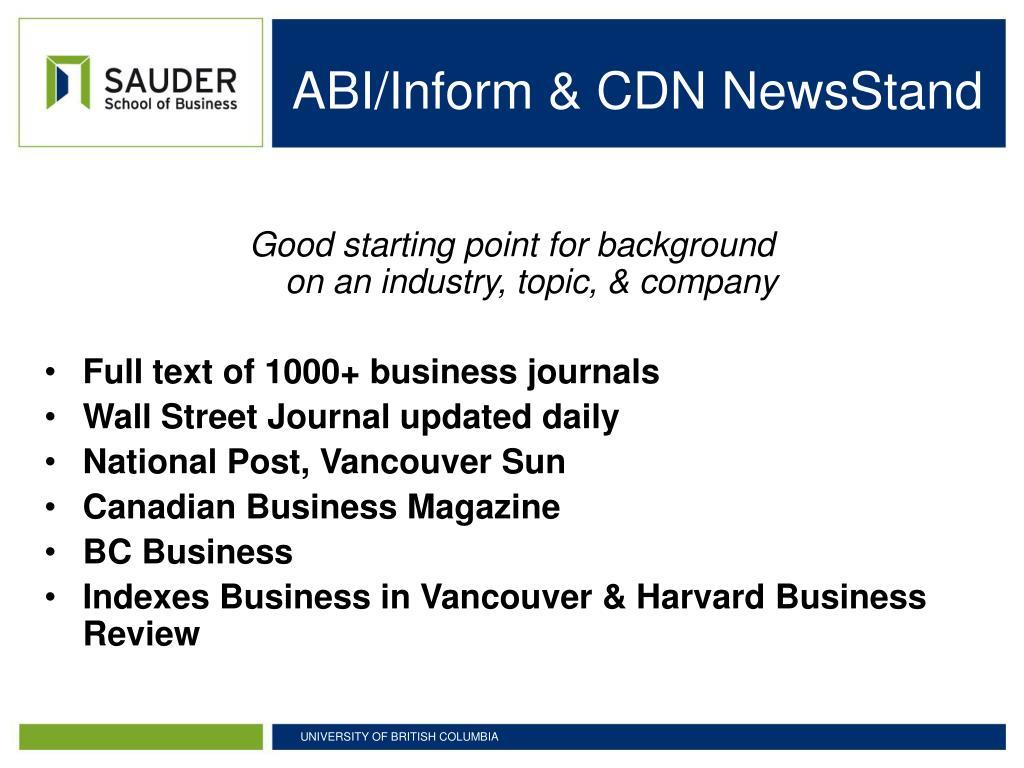 ABI/Inform & CDN NewsStand