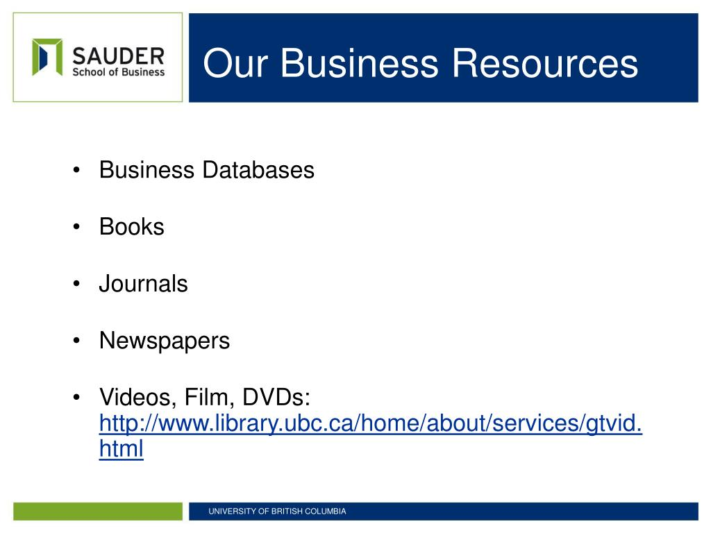 Our Business Resources