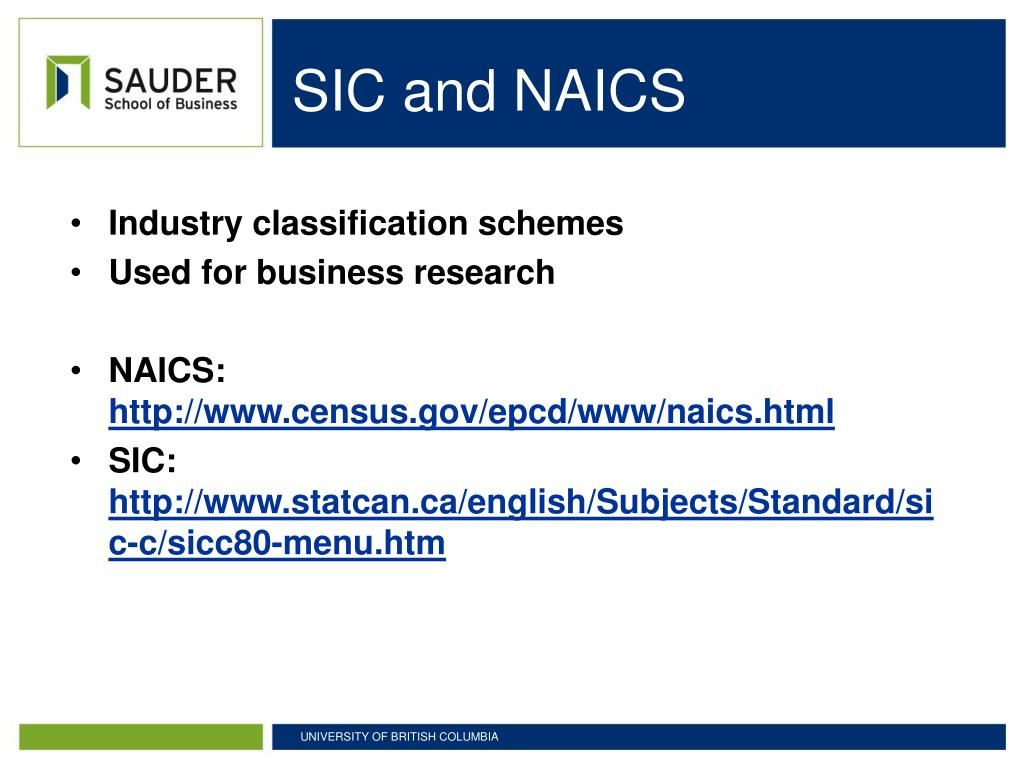 SIC and NAICS