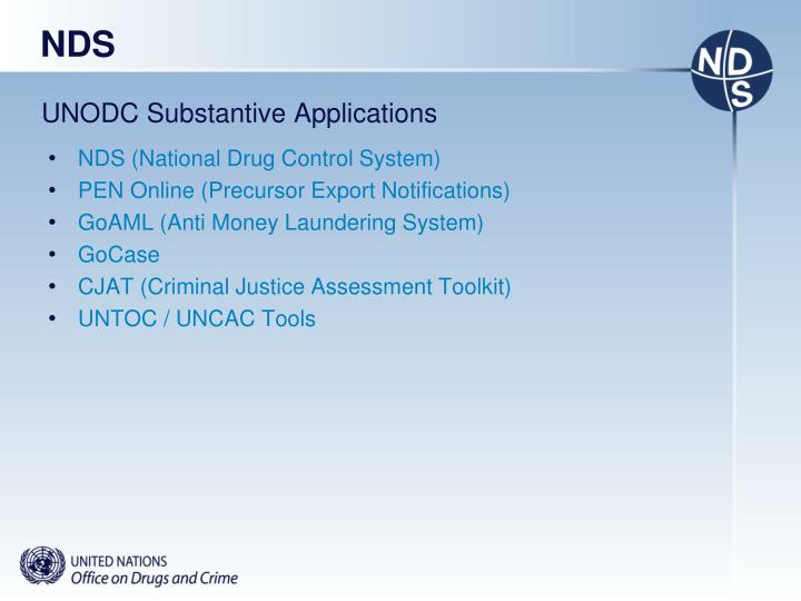 Unodc substantive applications