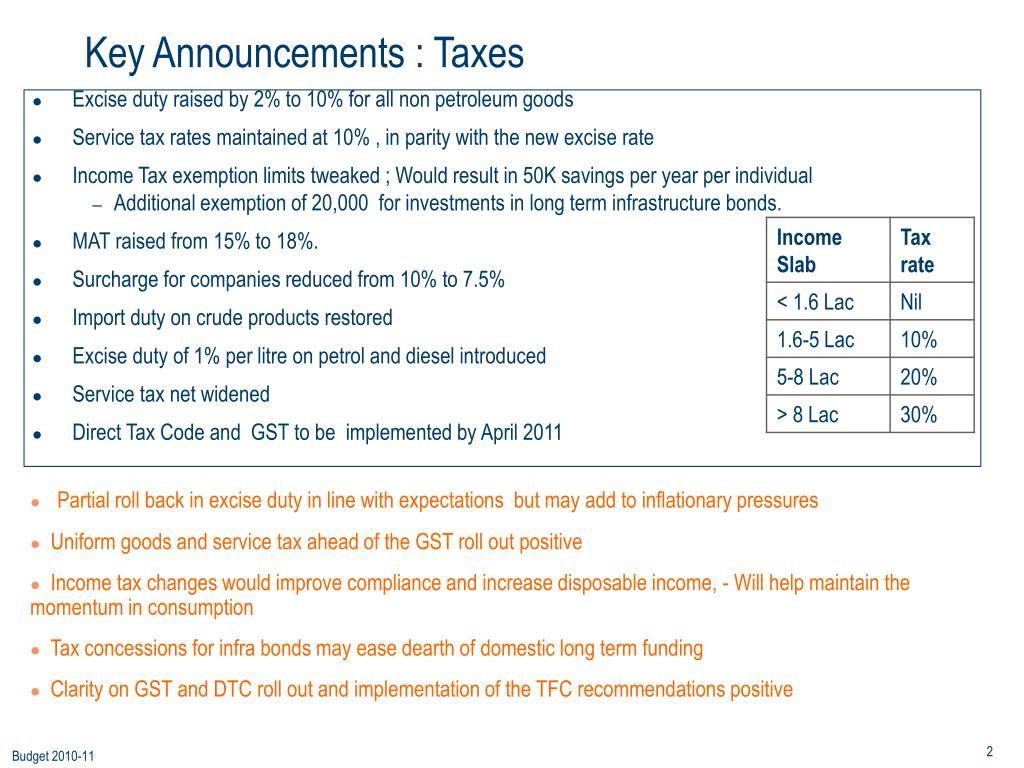 Key Announcements : Taxes