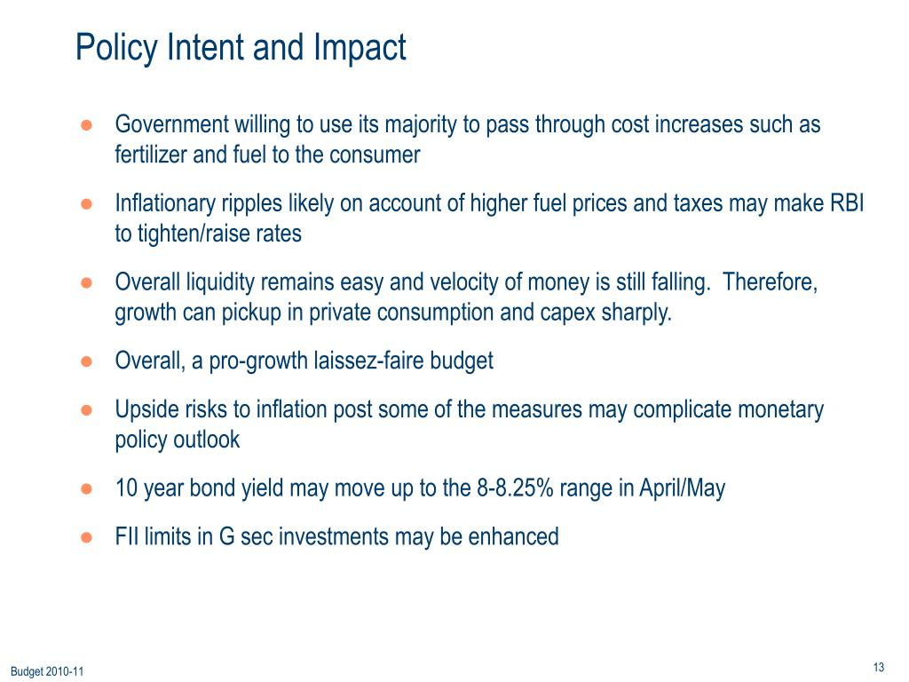 Policy Intent and Impact