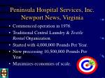 peninsula hospital services inc newport news virginia