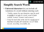 simplify search words