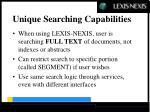unique searching capabilities
