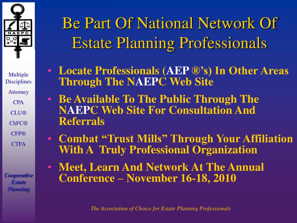 Be Part Of National Network Of Estate Planning Professionals