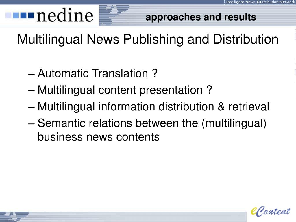 Multilingual News Publishing and Distribution