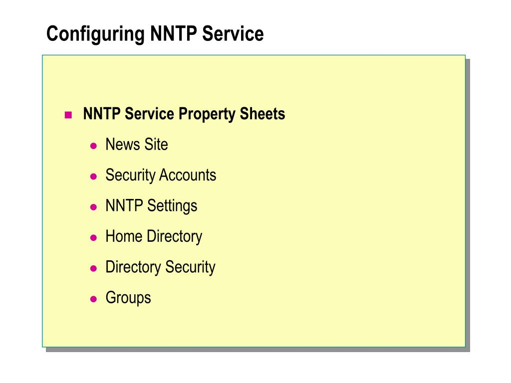 Configuring NNTP Service