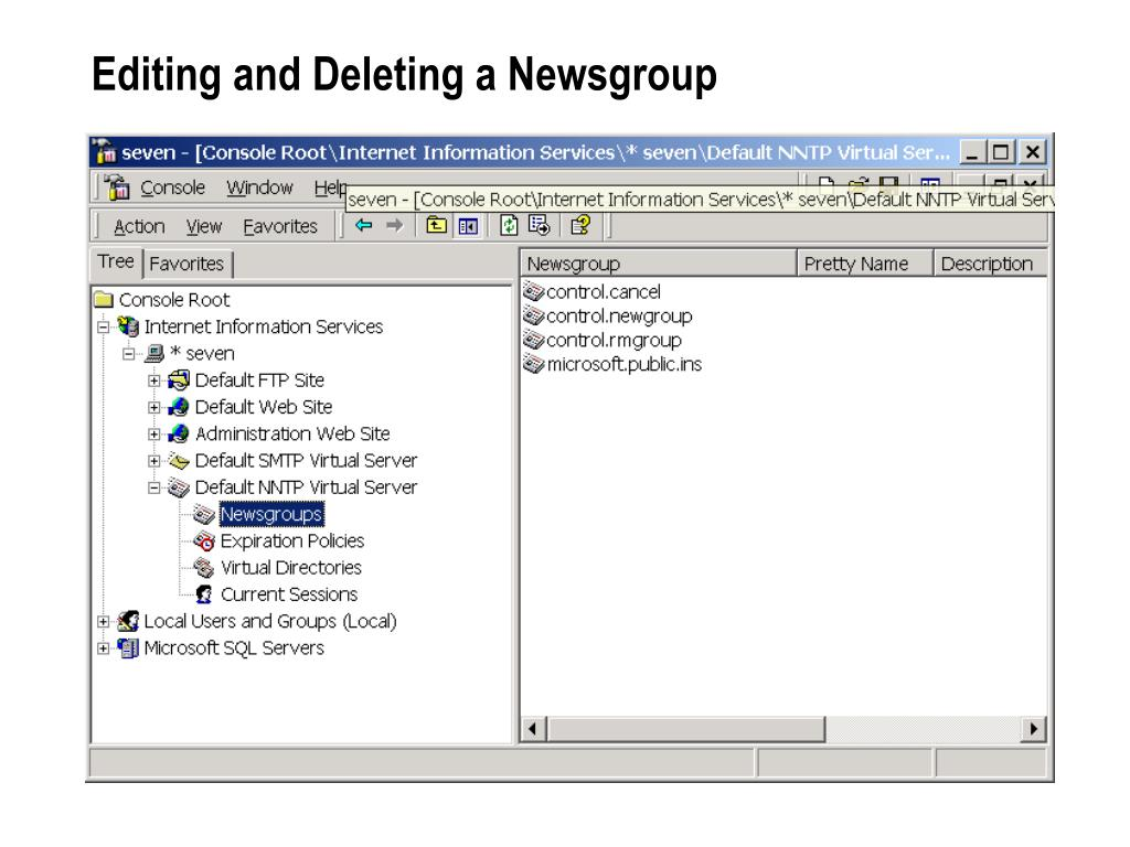 Editing and Deleting a Newsgroup
