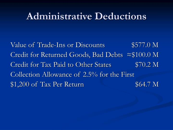 Administrative Deductions