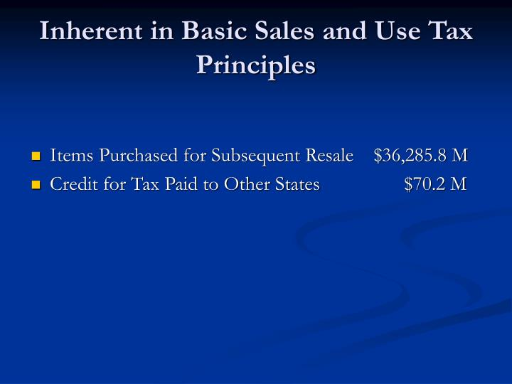 Inherent in Basic Sales and Use Tax Principles