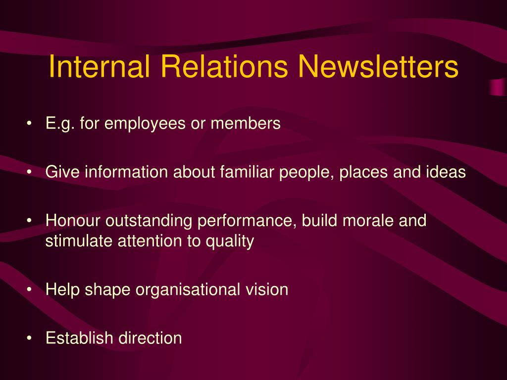 Internal Relations Newsletters