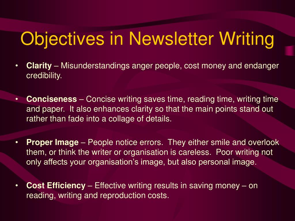 Objectives in Newsletter Writing