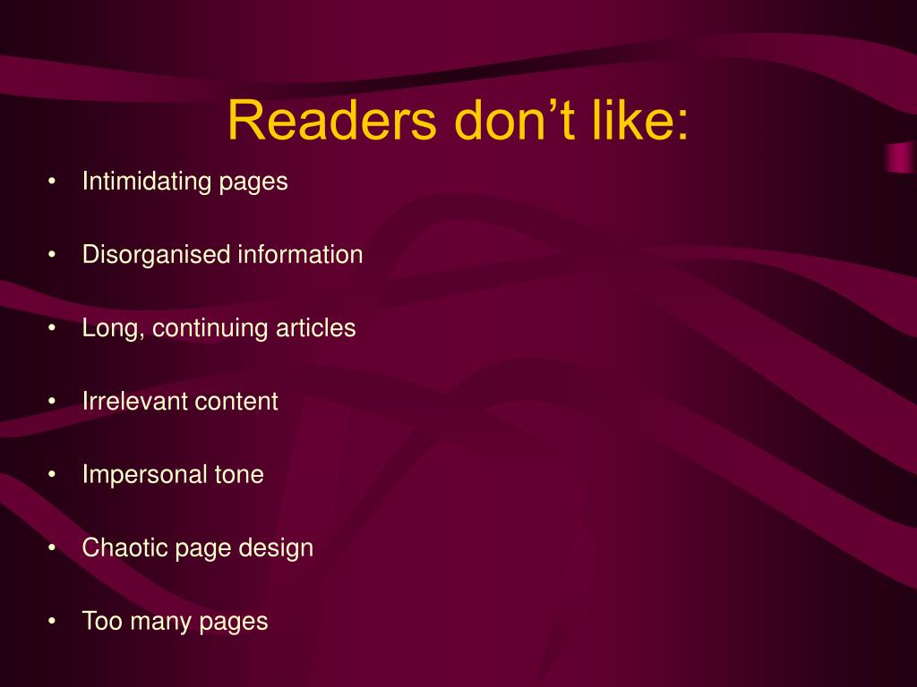 Readers don't like: