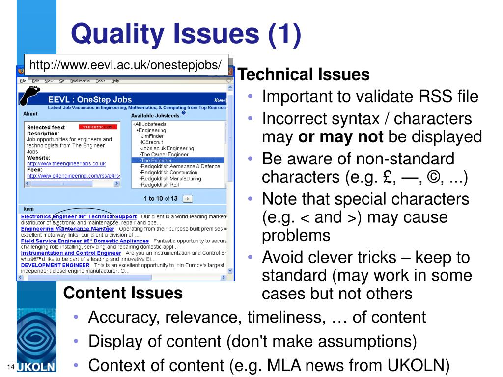 Quality Issues (1)