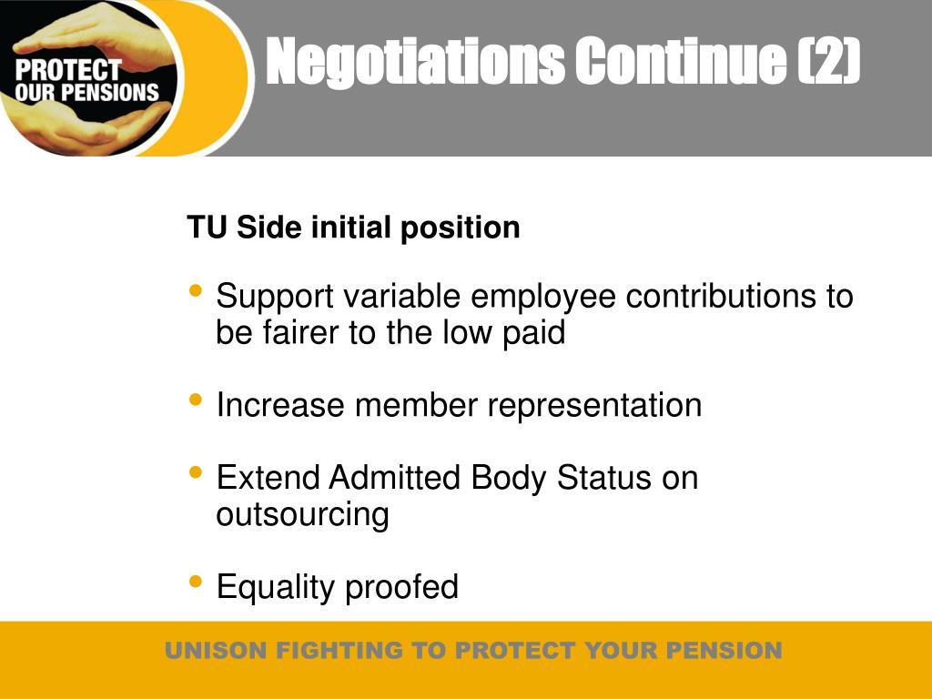 Negotiations Continue (2)