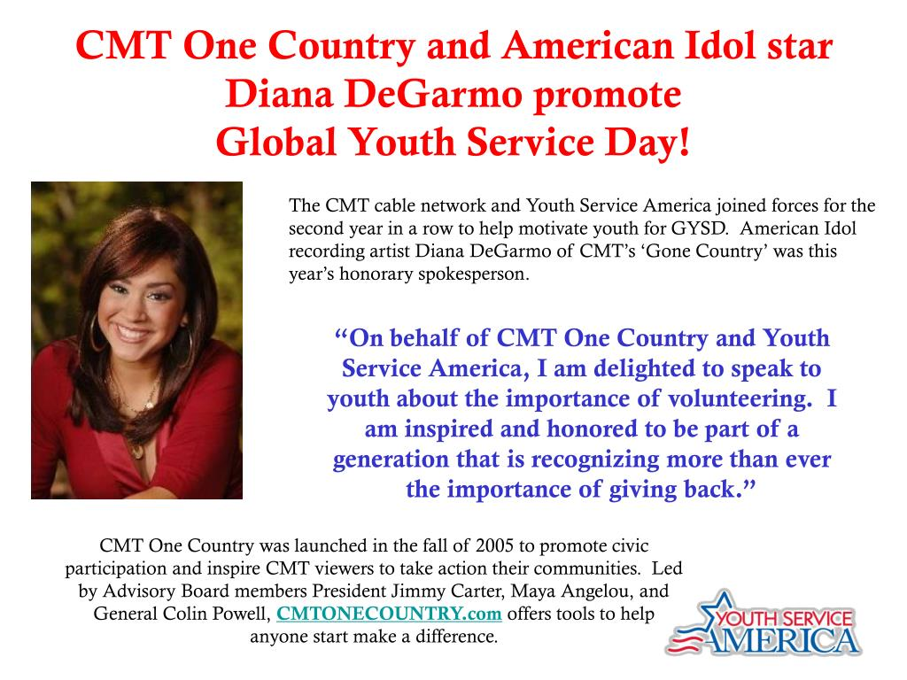 CMT One Country and American Idol star Diana DeGarmo promote