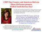 cmt one country and american idol star diana degarmo promote global youth service day