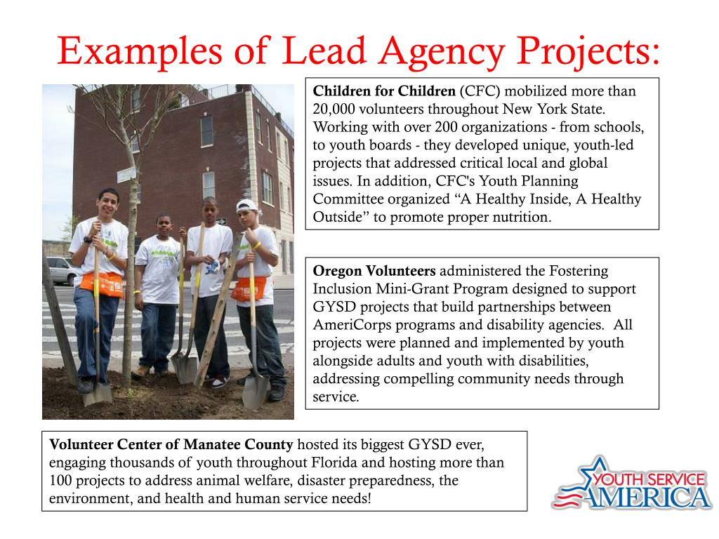 Examples of Lead Agency Projects: