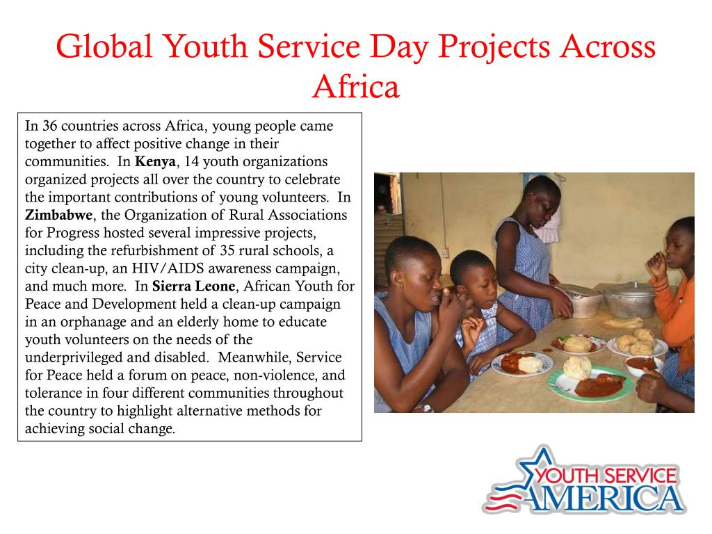 Global Youth Service Day Projects Across Africa