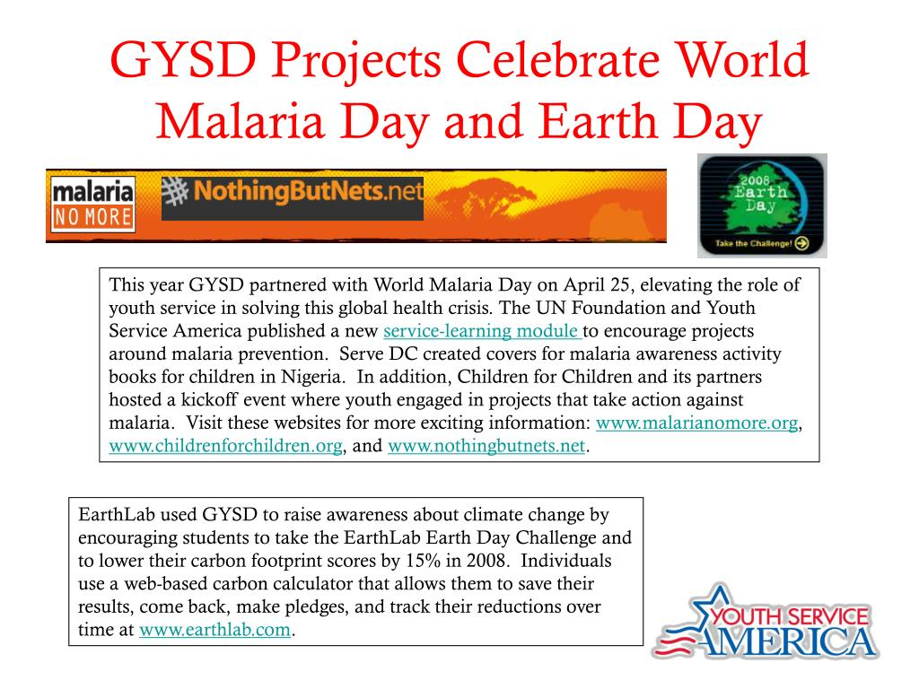 GYSD Projects Celebrate World Malaria Day and Earth Day