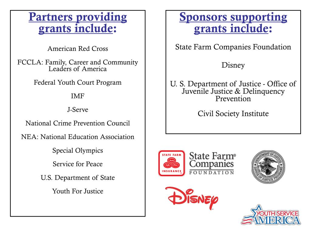 Partners providing grants include