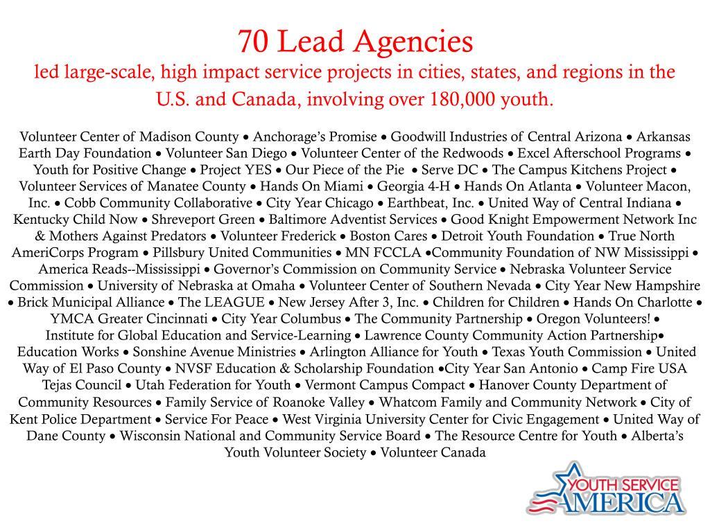 70 Lead Agencies