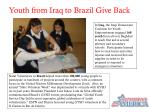 youth from iraq to brazil give back