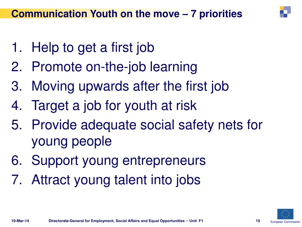 Communication Youth on the move – 7 priorities