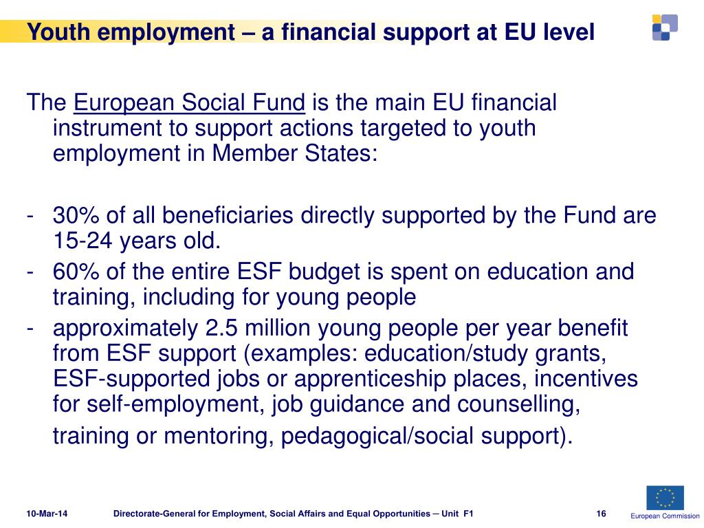 Youth employment – a financial support at EU level