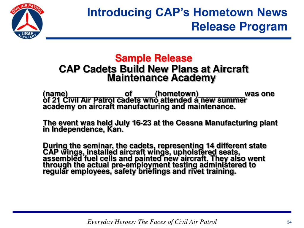 Introducing CAP's Hometown News Release Program