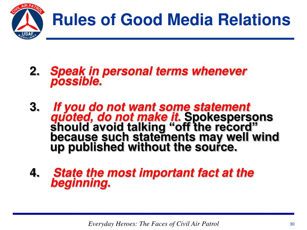 Rules of Good Media Relations