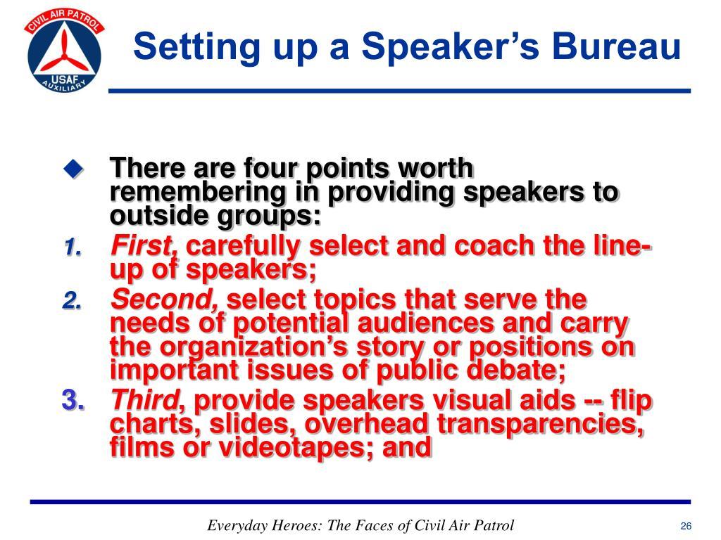 Setting up a Speaker's Bureau