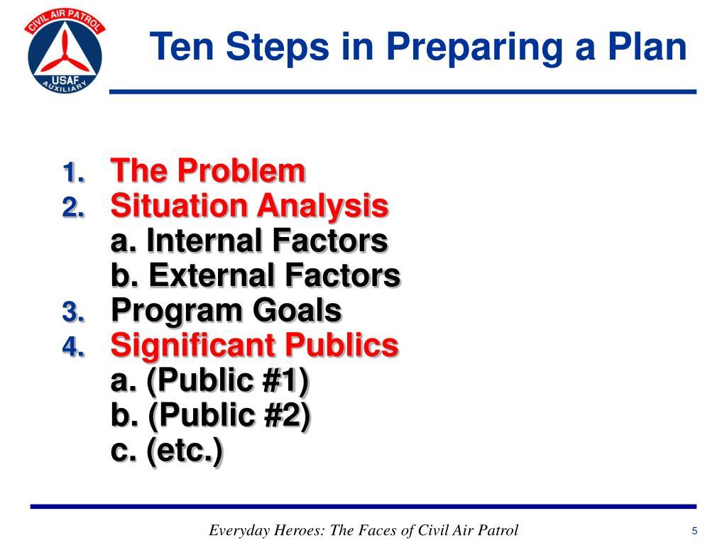 Ten Steps in Preparing a Plan
